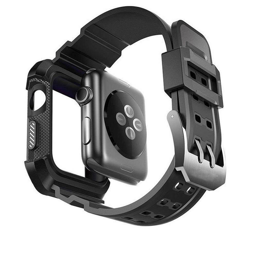Mens Black Heavy Duty Tough Strap Case Cover for iWatch Apple Watch Series 1 2 3 42mm Malaysia
