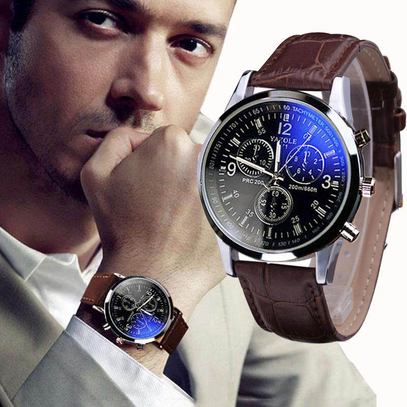 Luxury Fashion Faux Leather Mens Blue Ray Glass Quartz Analog Watches radocie Malaysia