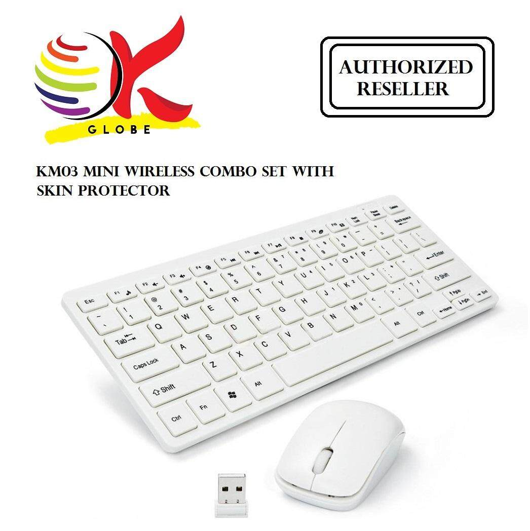 MINI 2.4G WIRELESS WHITE KEYBOARD MOUSE COMBO SET WITH KEYBOARD SKIN PROTECTOR - KM03, FOR DESKTOP PC. Malaysia