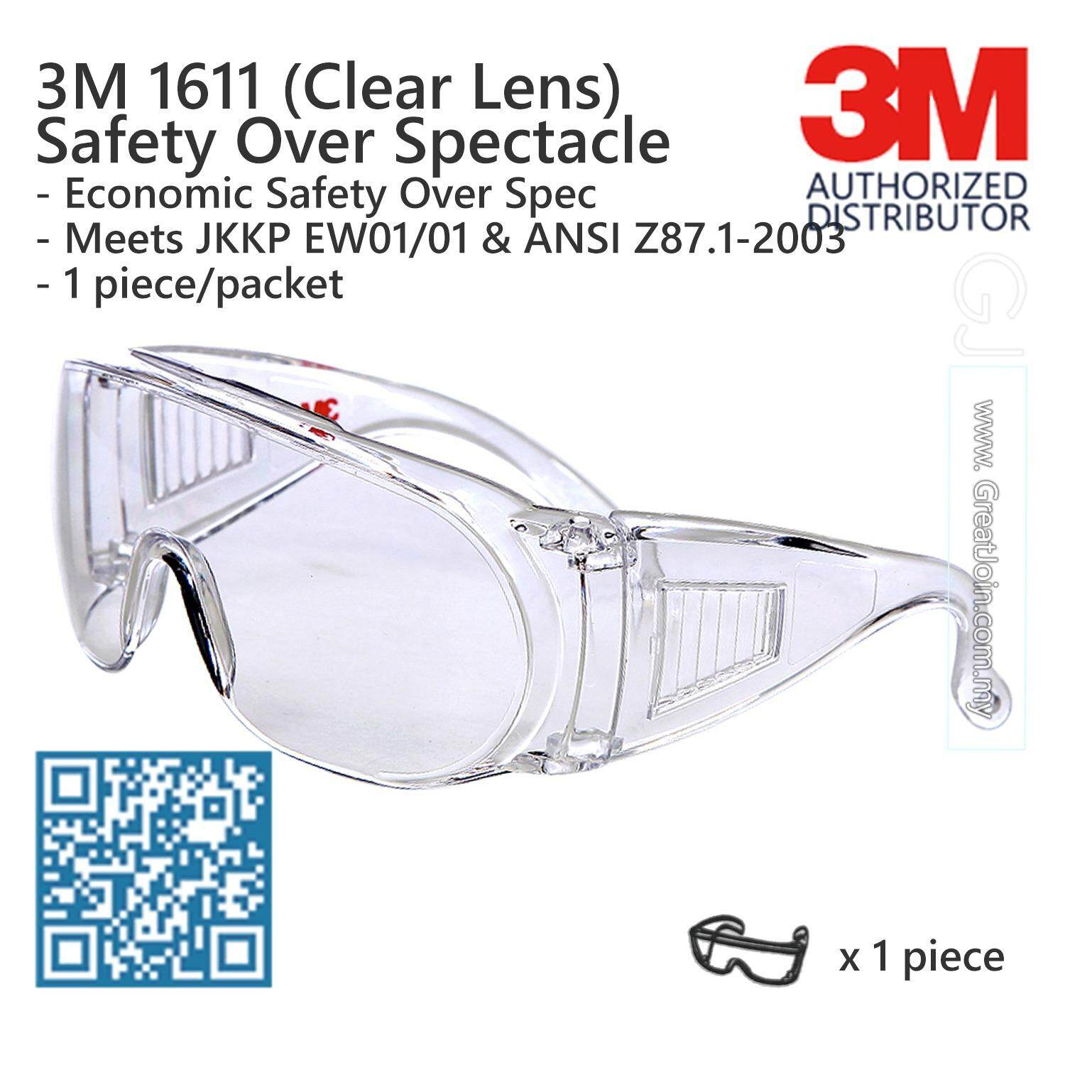 3M 1611 Safety Evewear  Safety Glasses  Over Spectacle  Visitor Specs   Clear  db494cbcb2