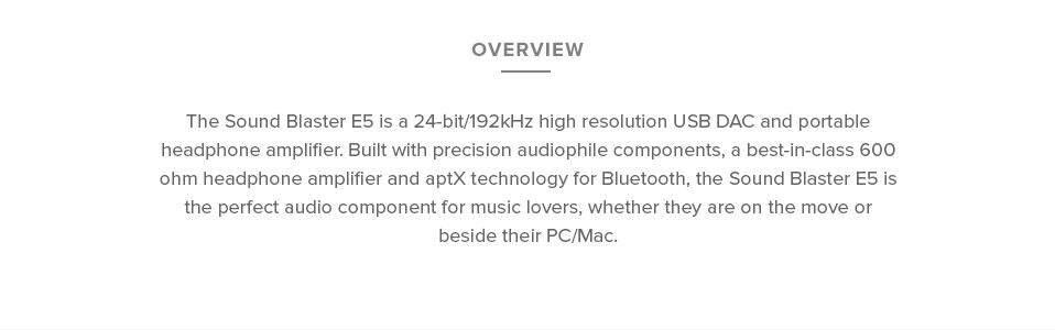 Creative Sound Blaster E5 Portable External DAC & Headphone Amp