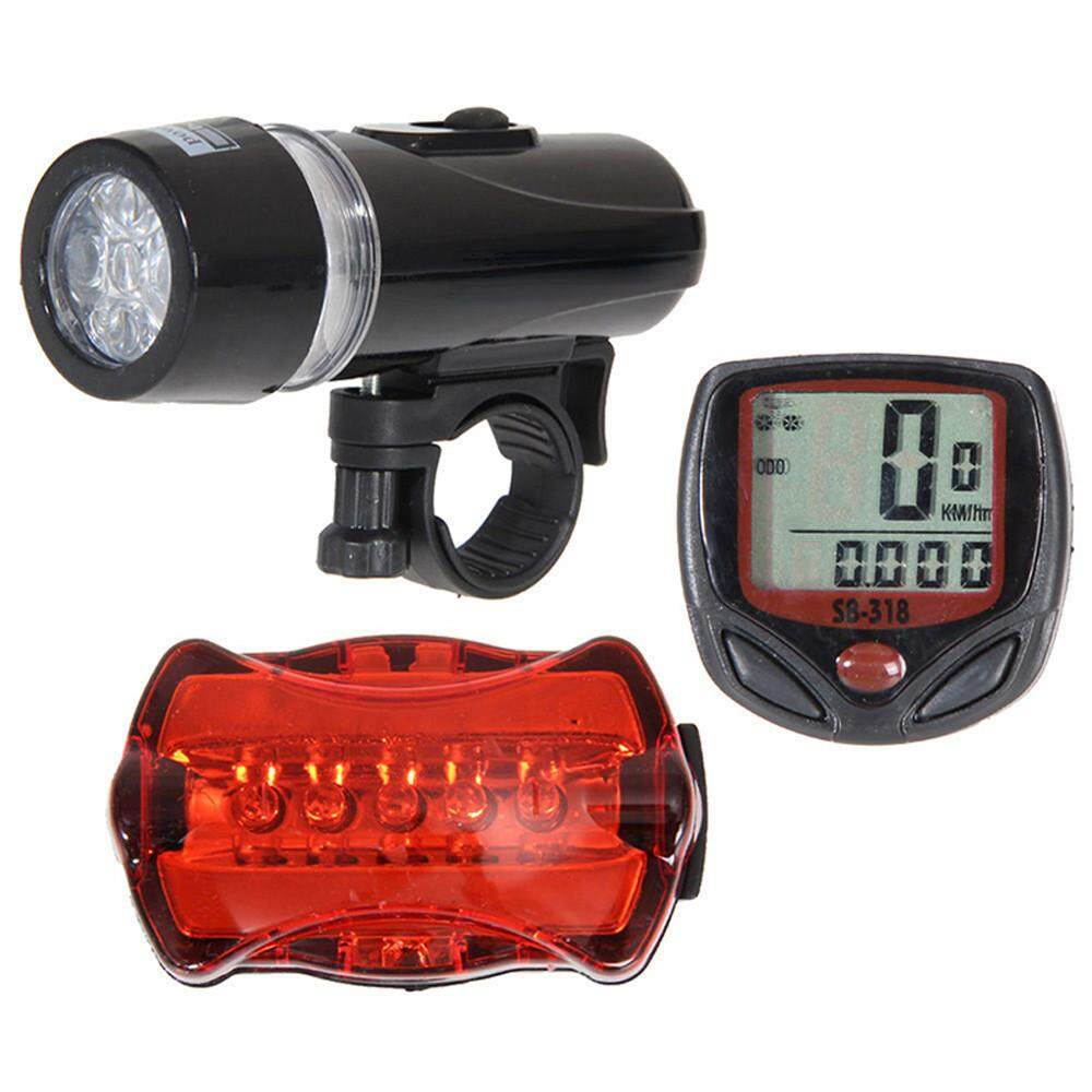 Bicycle Speedometer + 5 Led Mountain Bike Cycling Light Head + Rear Lamp New By Dakeres.