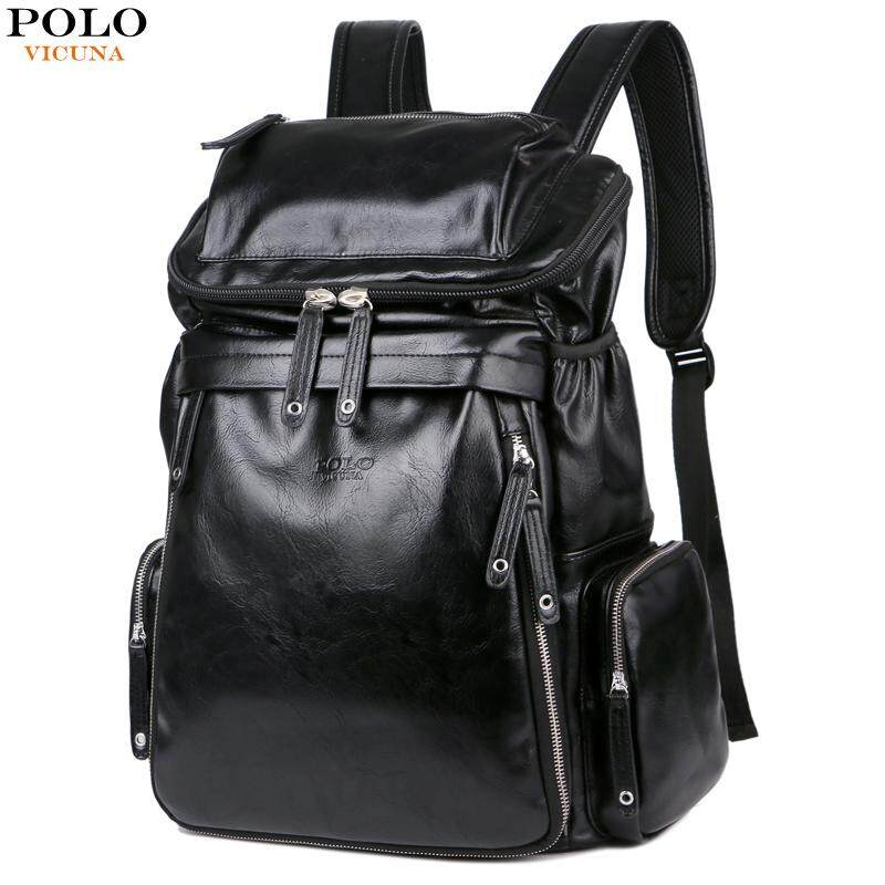 99ecab7f15df VICUNA POLO Fashion Large Capacity Black Rucksack Men Travel Bag Leather  Backpack Men School Luggage For