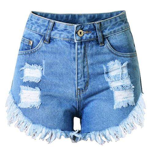Womans Tassel Ripped Distress High Waist Denim Shorts Jeans, Blue Xxxl By Fastour.