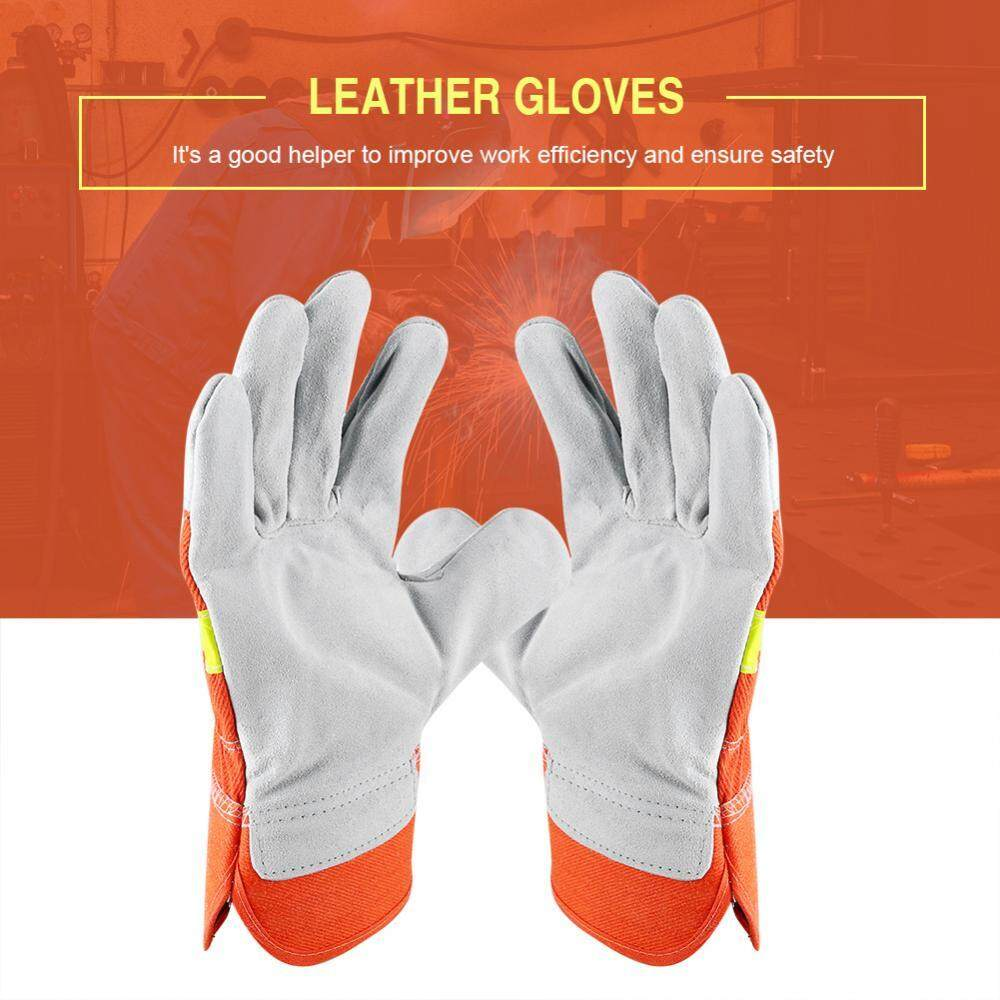 Hot 1 Pair Leather Work Gloves Protection Gardening Mechanic Safety Gloves