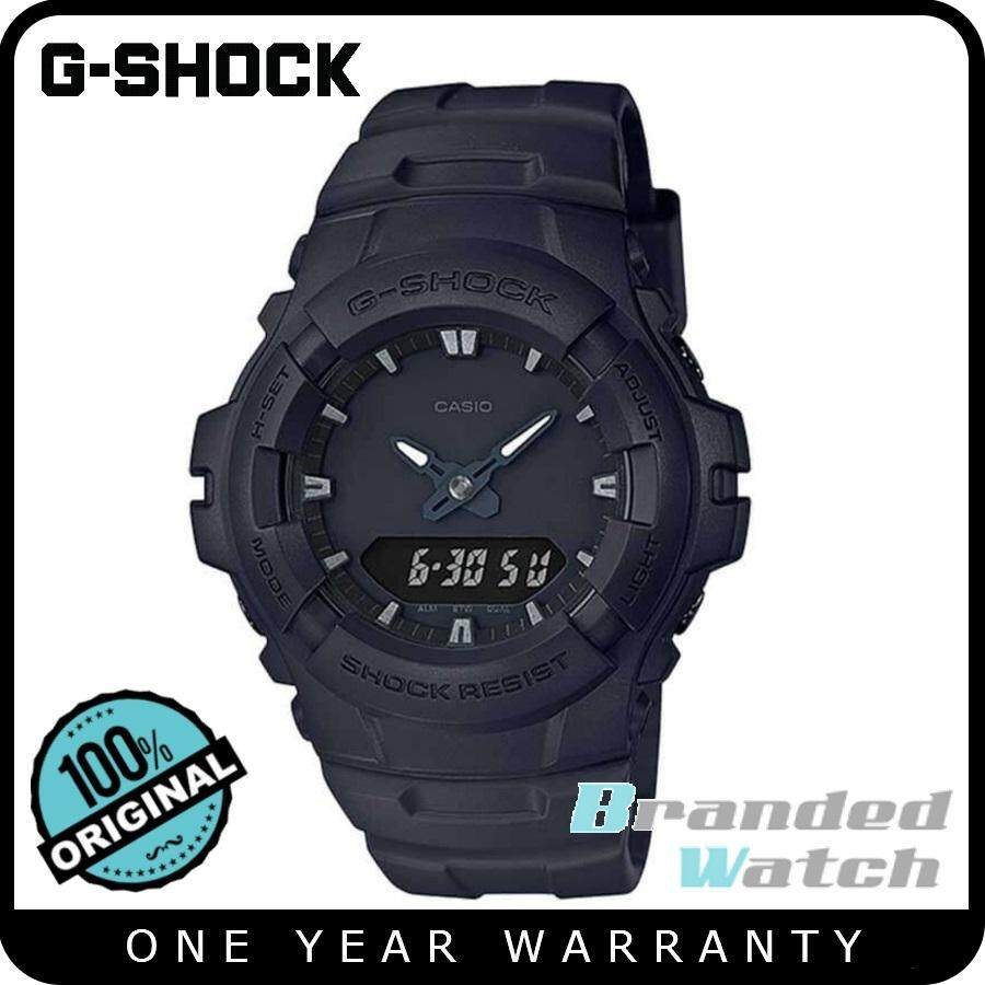 G-Shock G-100BB-1ADR Men's Digital Analog Blackout Matte Black Resin Watch
