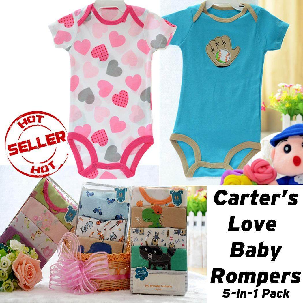 bfe90f1514b2 Carter s Love 5-pcs Baby Girl Tag-lessTickle-free Bodysuit Romper Girl  Clothing