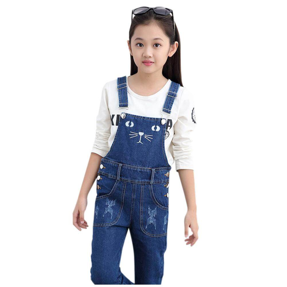 284360406dd Girls Overalls Denim Jeans Spring Autumn Baby Cat Pattern Pants Teens Kids  Straight Jumpsuit