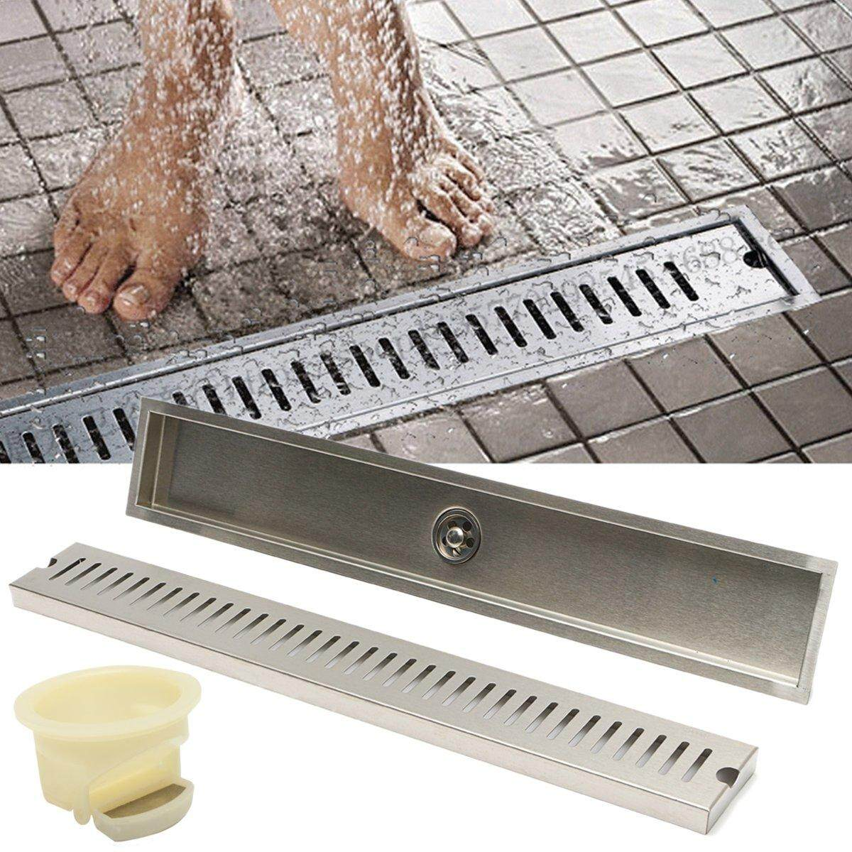 60x10cm 24inch Stainless Steel Shower Tile Insert Linear Drain Grate Bath Floor By Channy.