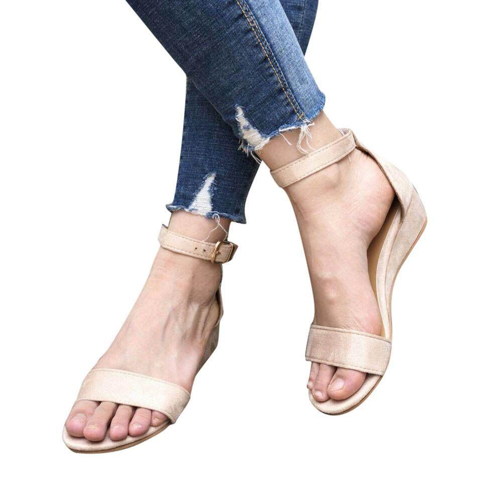 59cc4c4823d GUO Women Ladies Summer Roman Shoes Buckles Wedges Ankle Strap Sandals