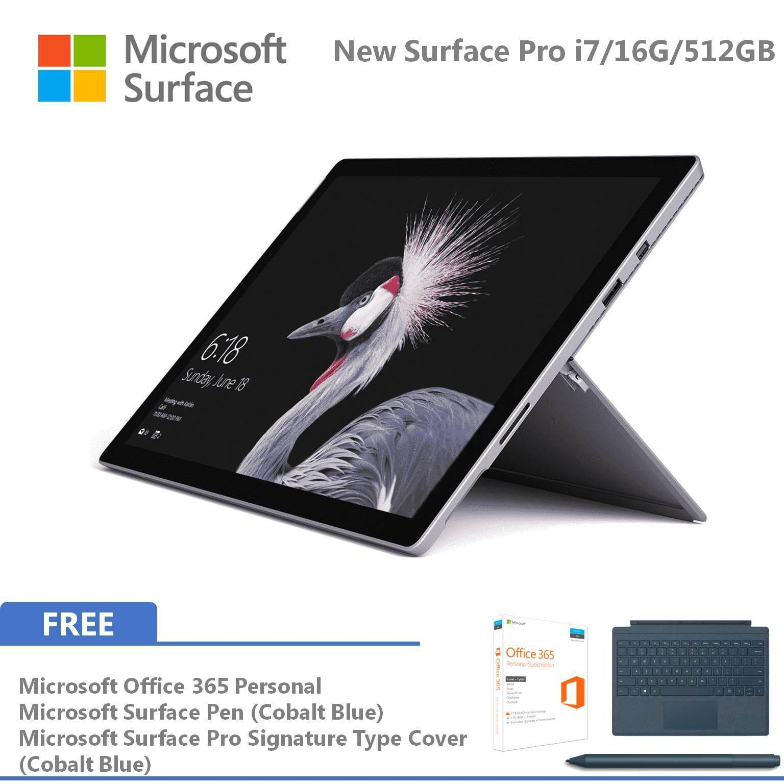 NEW Microsoft Surface Pro - i7 / 512GB / 16GB RAM + Free Signature Pro Type Cover, Surface Pen, Office 365 Malaysia