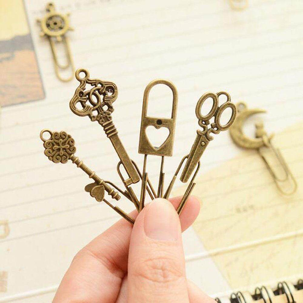 6 Pcs/lot Cute Metal Bookmarks Vintage Key Bookmarks Paper Clips Kid Gifts By Best Land.