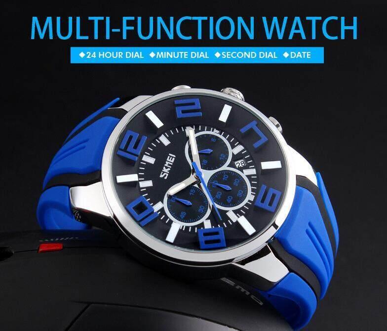 Fashion Skmei 9128 Sports Men Watch Top Luxury Brand Silicone Strap Casual Watches for Men Waterproof Quartz-watch Calendar Concise Mens Wristwatch Malaysia