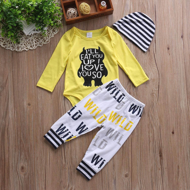 9d4e0ca88 3PCS Newborn Infant Baby Boys Clothes Playsuit Romper Pants Bodysuit ...