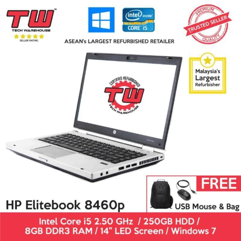 HP Elitebook 8460p Core i5 / 8GB RAM / 250GB HDD / Windows 7 Laptop / 3 Months Warranty (Factory Refurbished) Malaysia