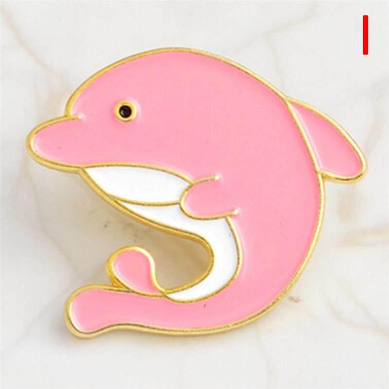 Cute Enamel Dolphin Brooch Pin Cartoon Sea Animal Shirt Collar Badge Pin  Jewelry Style:H