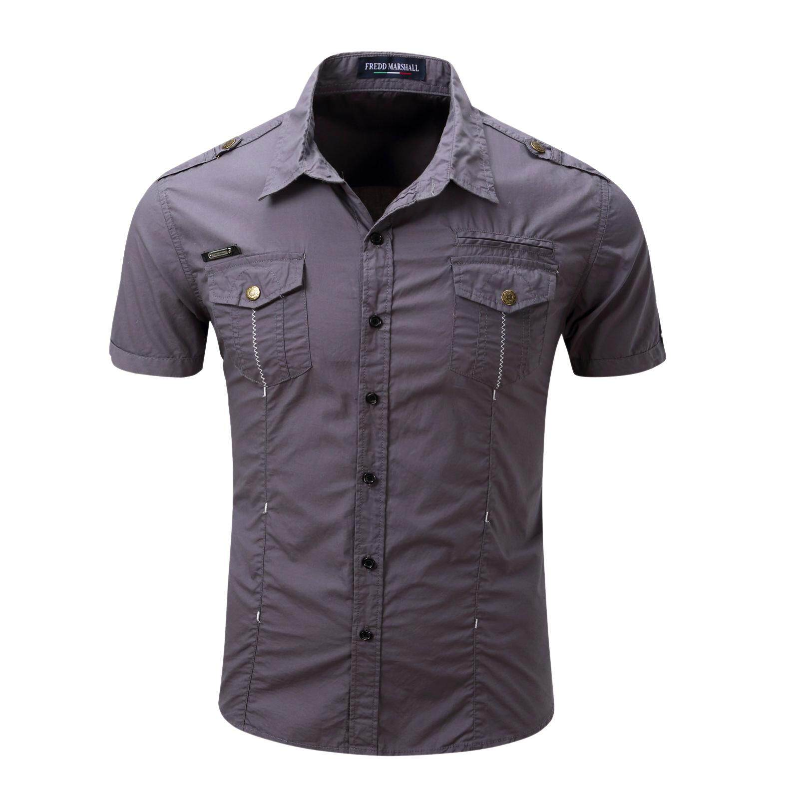 93aa0f7bd9f1 2019 New Arrive Men s Cargo Shirt Men Casual Shirt Solid Short Sleeve Shirts  Work Shirt with