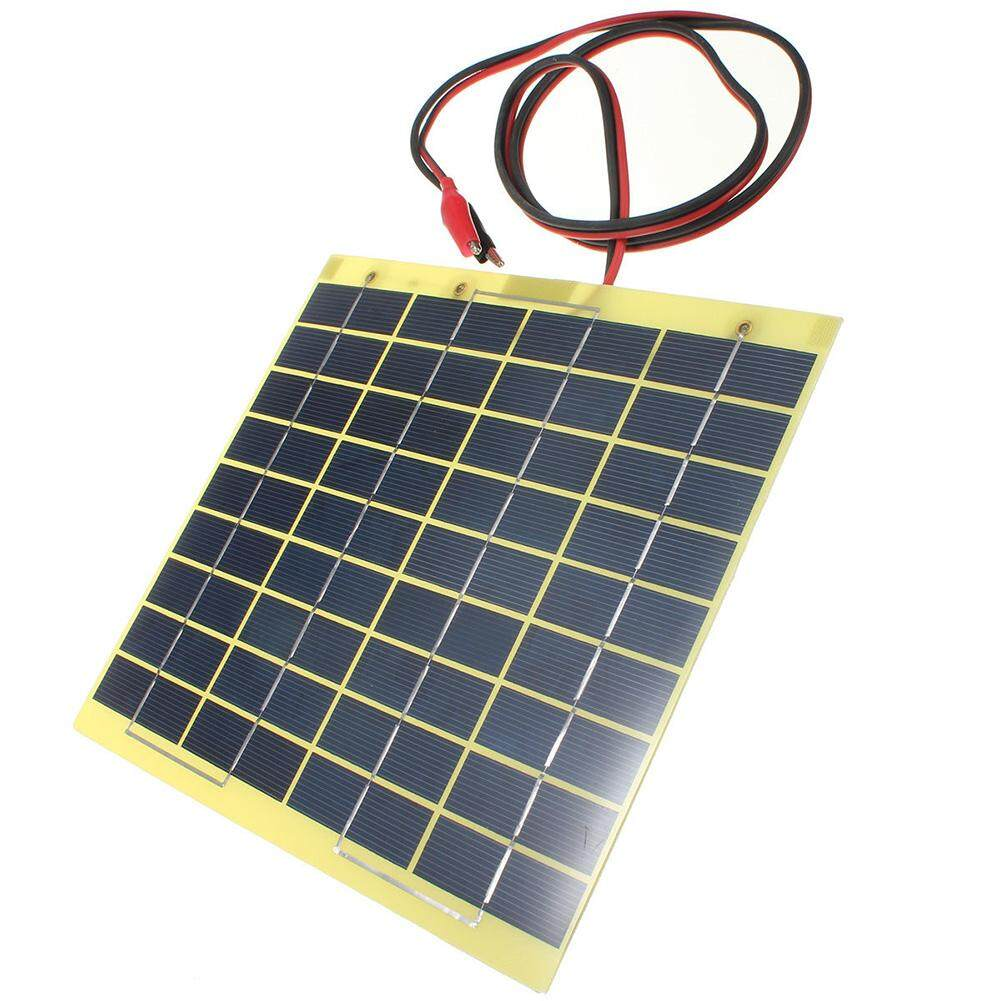 12v 5w Solar Panel & Clips For Car Home Camping Boat Battery Charger By Sunnny2015.