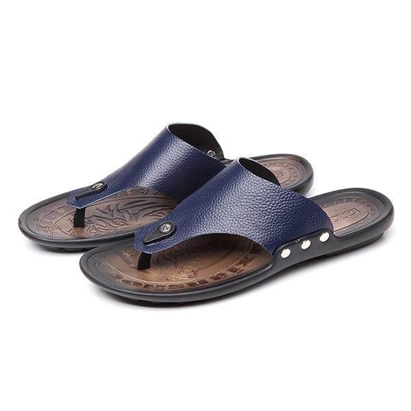 6d30dbd5b73 MAN Leather Flip Flop Sandals Slippers Simple Durable High-quality Shoe -  Dark Blue