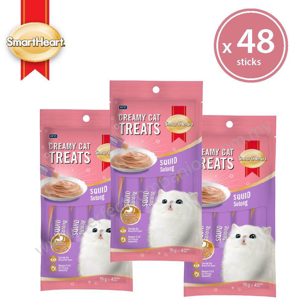 Smartheart Creamy Cat Treat / Cat Lick Squid Flavour 15g X 48 Sticks. By Smartheart Official Store.