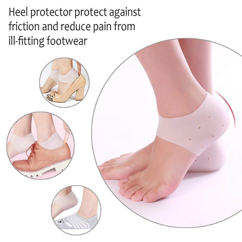 Silicone Gel Shock Absorption Heel Sleeves - The Best For Protecting Your Sore Feet From The Aches & Pains Of Plantar Fasciitis, Foot Pain, Heel Spurs & Cracked Heels - Breathable & Well-Made (free Size - 2 Pair) By Gadgetkecik.