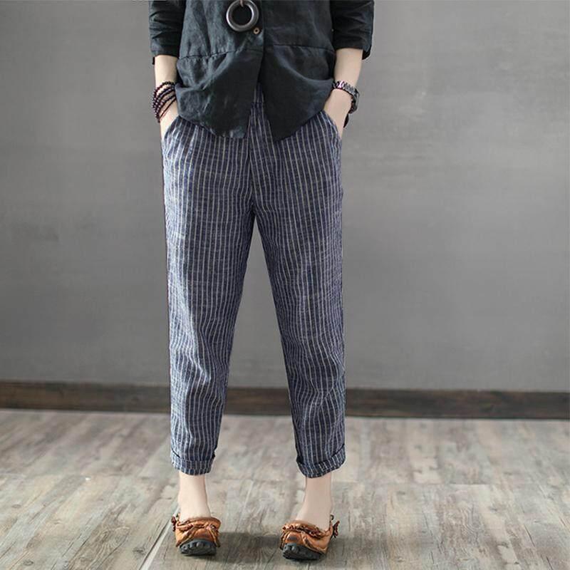 a7ba976c765 ZANZEA Women Plus Size Pants Striped Office OL High Waist Pencil Trousers