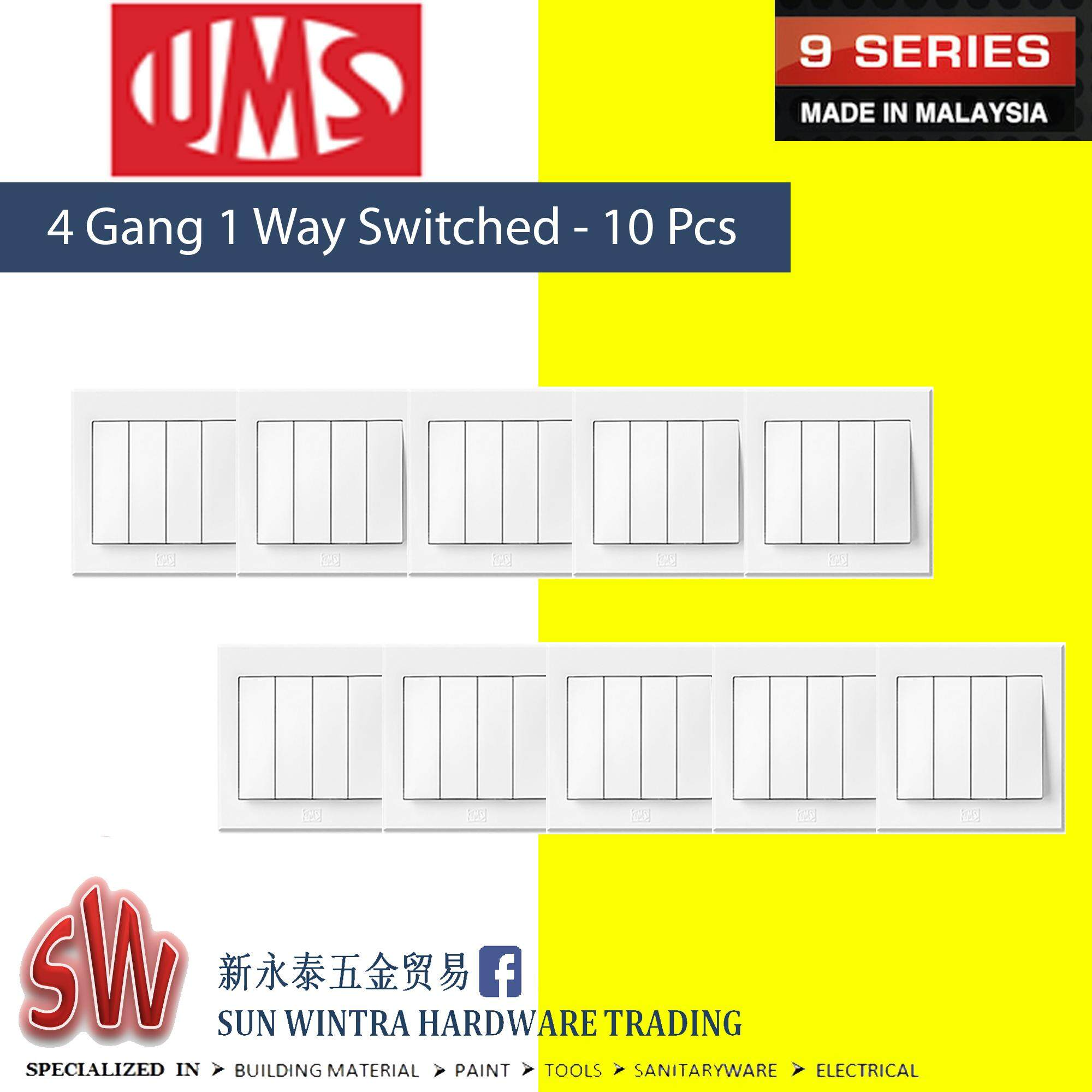 UMS 9 Series 4 Gang 1 Way Switched 10Pcs