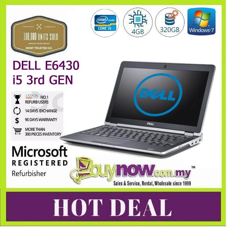 Factory Refurbished used Laptop Notebook Dell Latitude E6430, Laptop 3rd  Gen core - i5, 4GB, 320GB,(Free Wireless Mouse) Malaysia