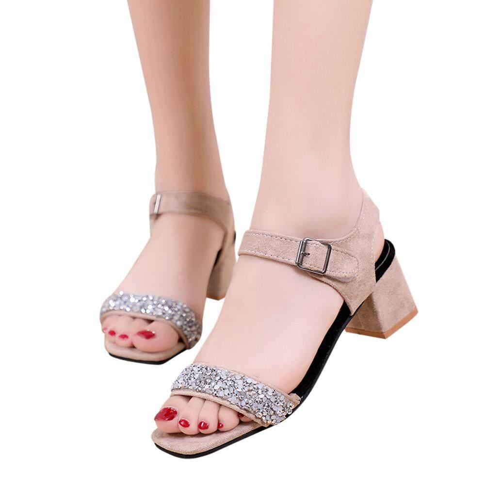 2cbcab31b0c Women Solid Crystal Square Toe Wedges Hook Loop High Heeled Shoes Sandals  Black