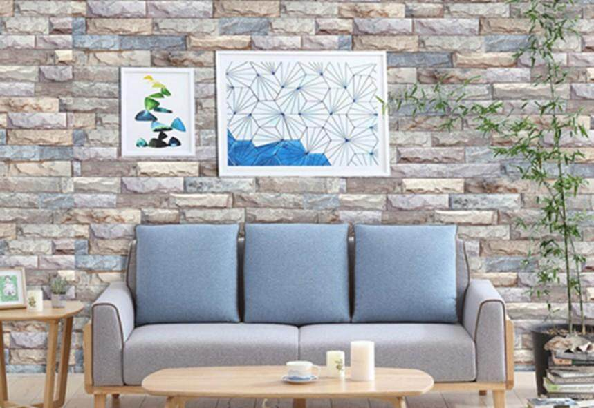 3D Stone Brick Wallpaper Self Adhesive 45cm x 1000cm (Ready Stock, Fast Delivery) Home Decor