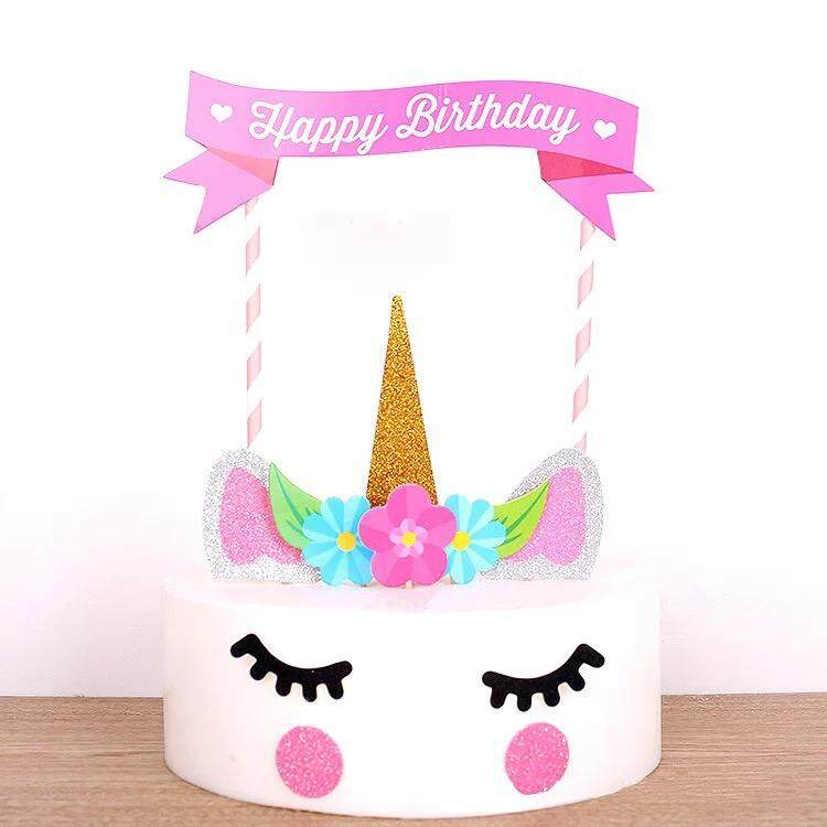 Unicorn Character Theme Cartoon Cake Topper Happy Birthday Decorations