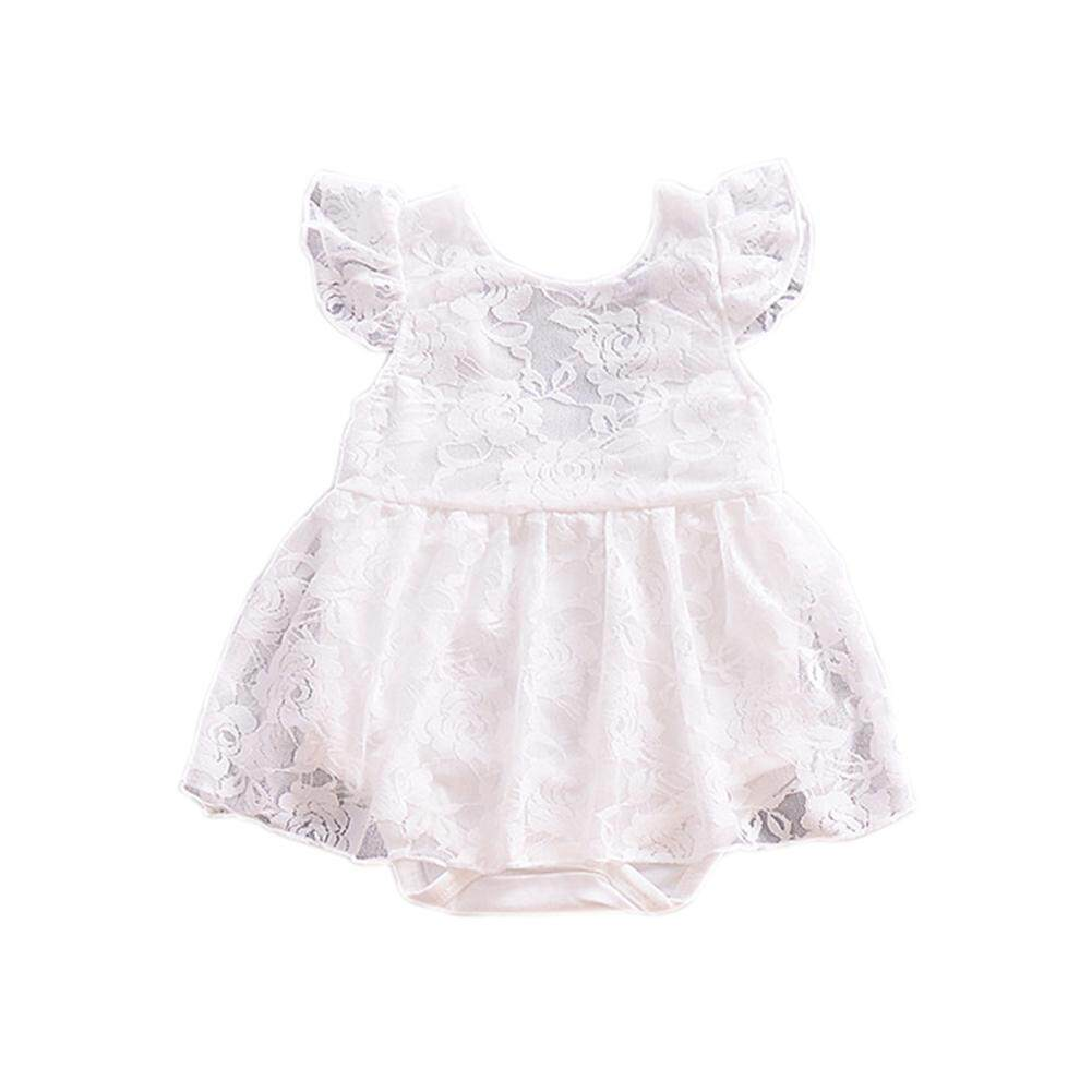 2c23e234f424 Girl Cute Lace Embroider Princess Dress Fashionable Flying Sleeve Jumpsuits  Skirt as Gift 3-6