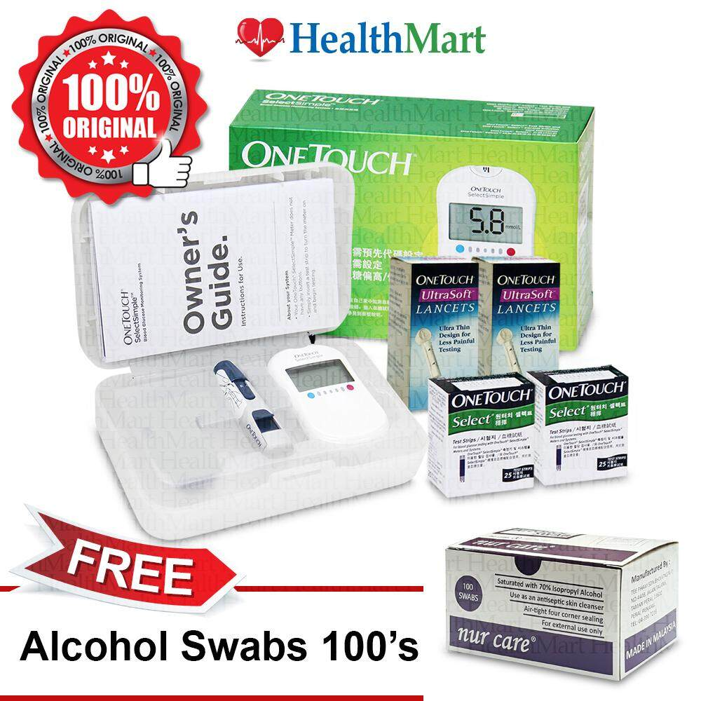 Blood Glucose Monitor Buy At Best Price In Lancets Nesco Type 30g One Touch Select Simple Kit Strips 50s Free Alcohol Swabs 100s
