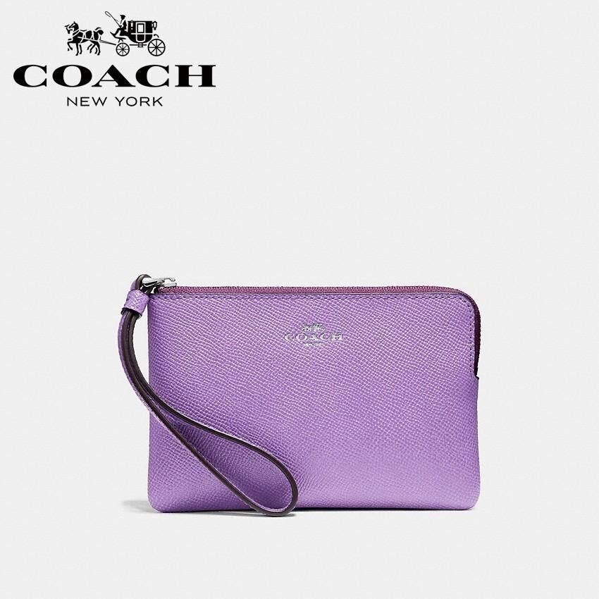 New Coach 21070 Corner Zip Wristlet Crossgrain Leather Metallic Denim
