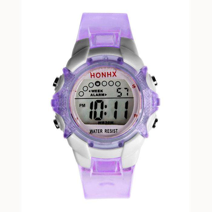 World Deal-Waterproof Children Girls Digital LED Quartz Alarm Date Sports Wrist Watch Purpl Malaysia
