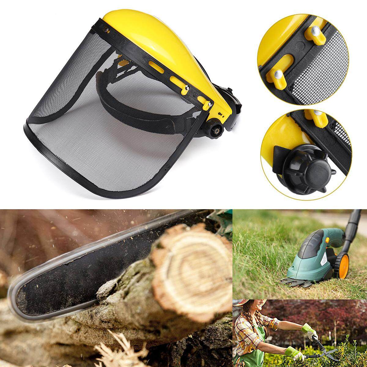 Adjustable Chainsaw Forestry Brushcutter Safety Helmet Full Face Mesh Visor Cap