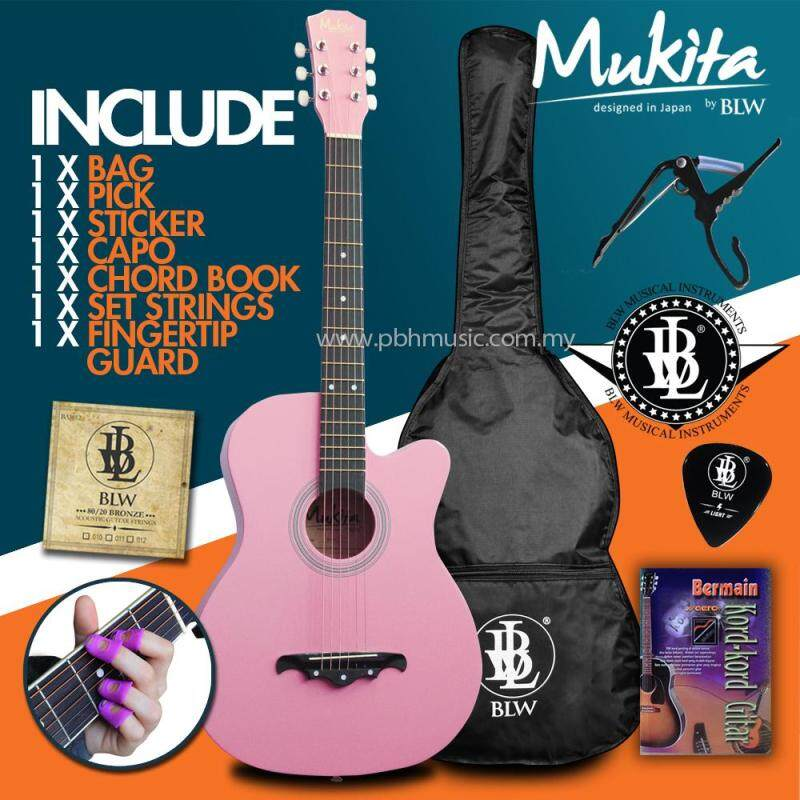 Mukita by BLW Standard Acoustic Folk Cutaway Basic Guitar Package 38 Inch for beginners with Bag, String Set, Fingertip Guard, Capo, Chord book, Pick and Merchandise Sticker (Pink) Malaysia