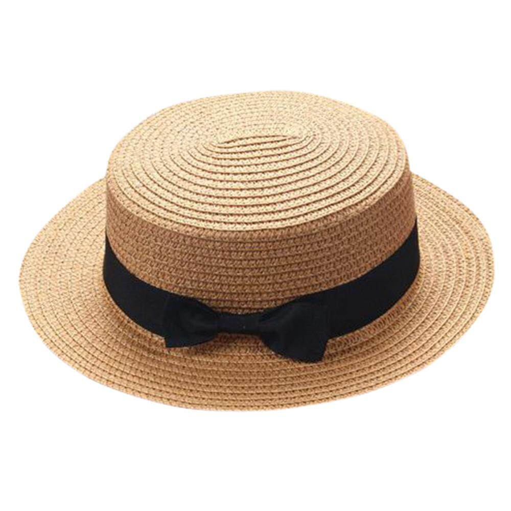 597f57b47fb Petenies Mother Me Father Mother Bowknot Children Breathable Hat Straw Hat  Kids Hat Cap