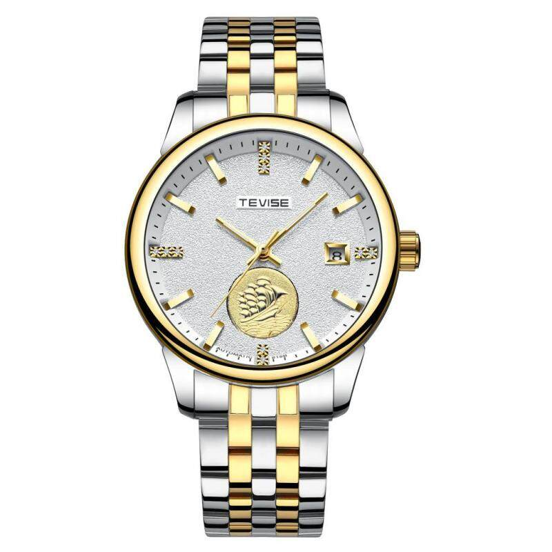 BolehDeals Tevise Mechanical Automatic Analog Date Sailing Crystal Watch Gold White Malaysia