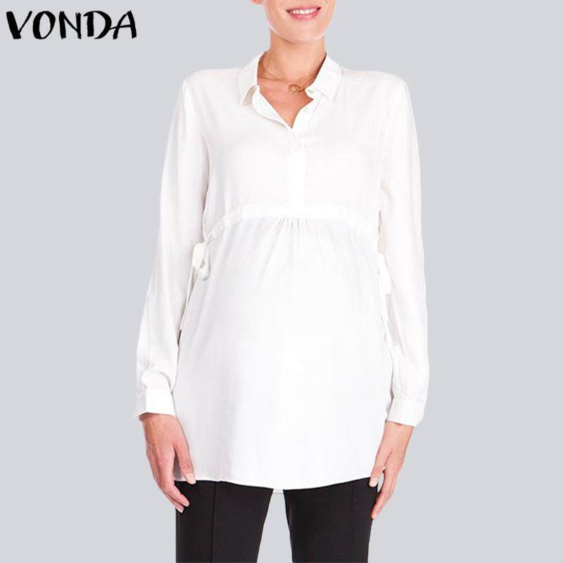 Vonda Maternity Women Pregnancy Celeb Lapel Neck Long Sleeve Waistline Blouse Shirt By Vonda Official Store.