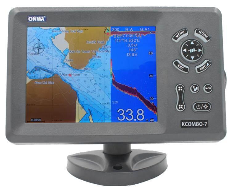 Onwa KCombo-7 GPS Chartplotter with Sonar Fishfinder with Plastic Thru Hull  Transducer