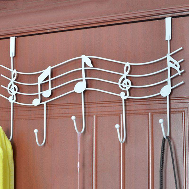 Creative Iron Musical Note Gate Hook Strong Wall Hanger Hook Free Nail (White)