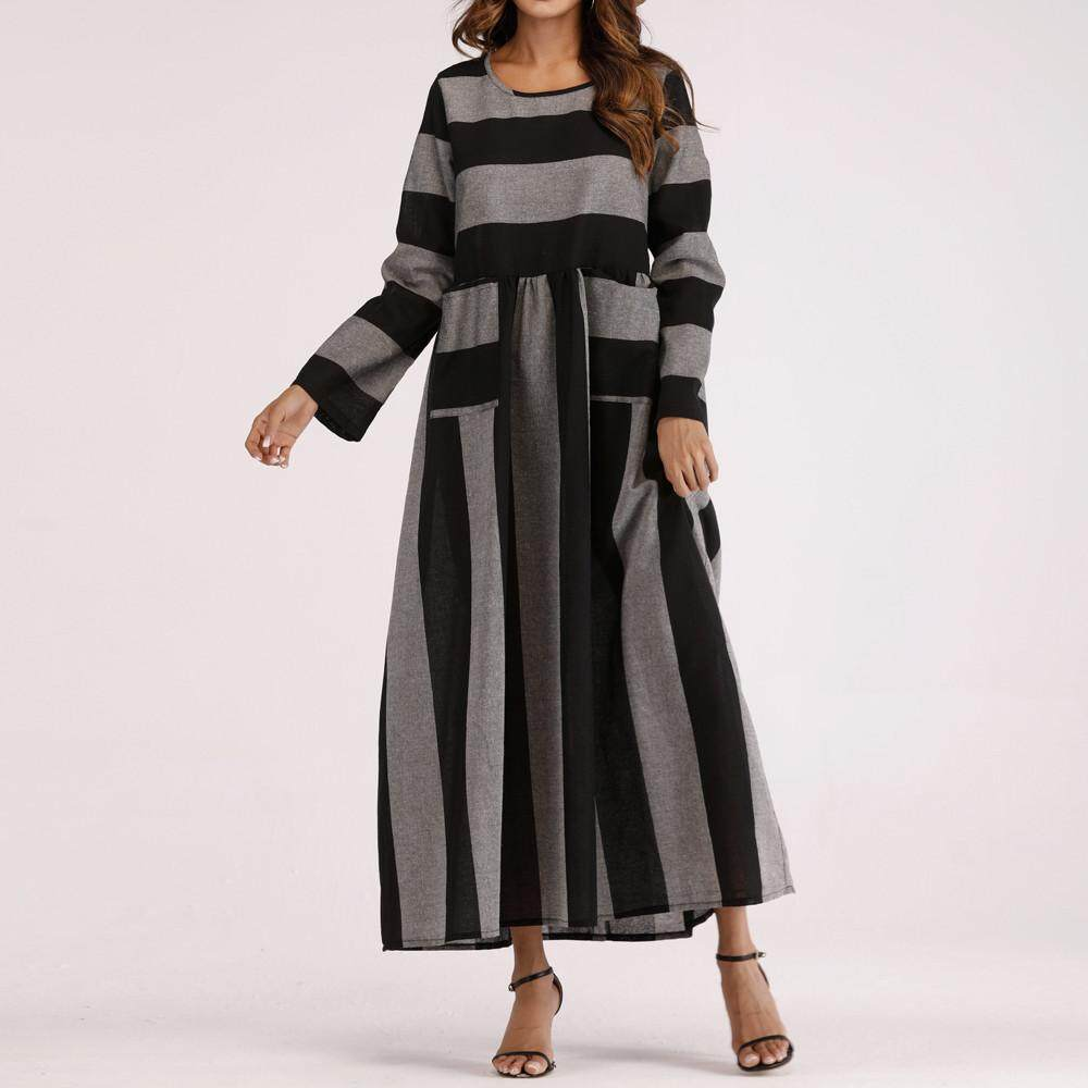 a8309b8513d1 GUO Women Long Sleeve Cotton Linen Striped Loose Pocket Long Bohe Dress  Kaftan
