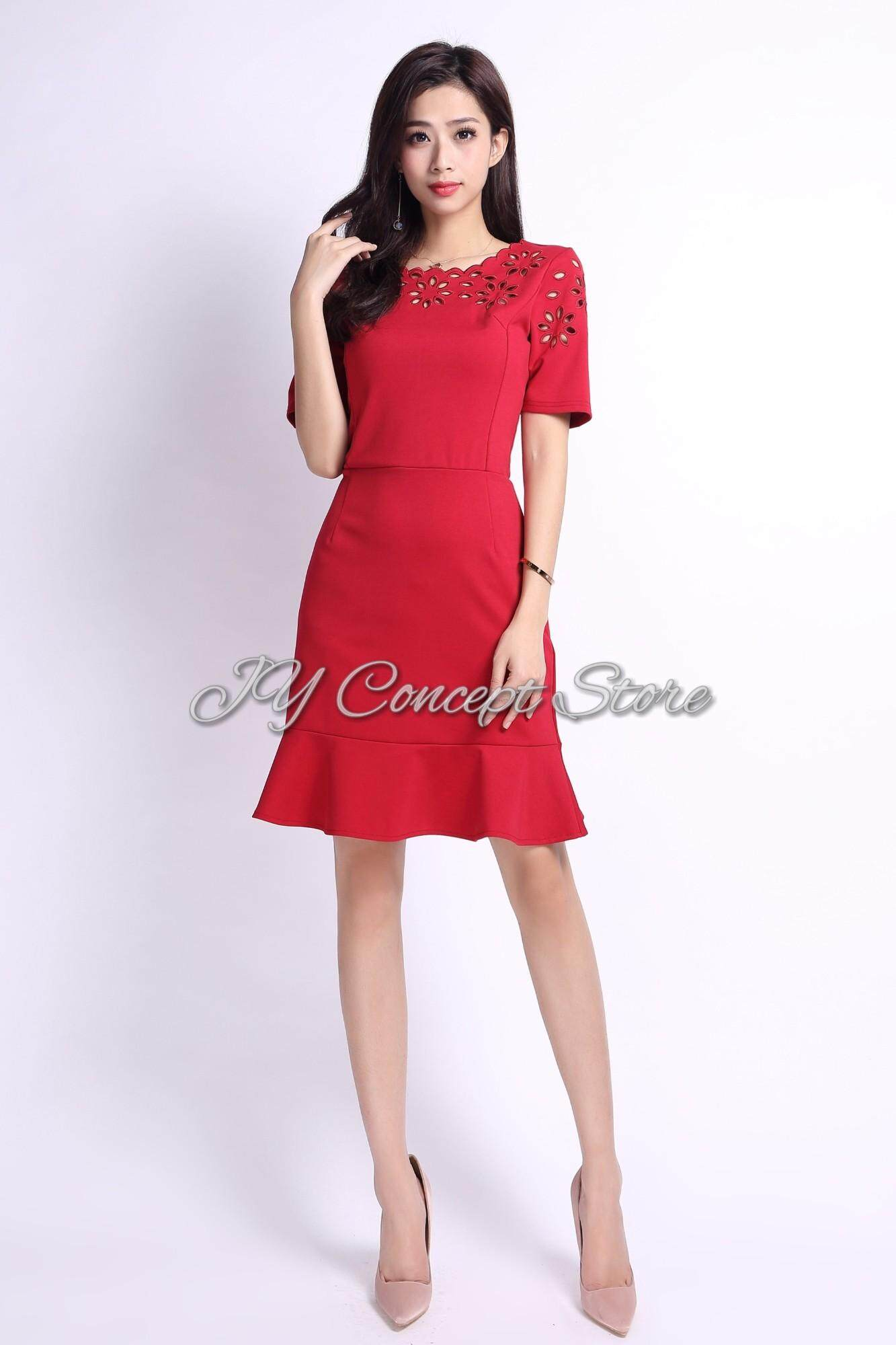 JY Concept See-Through Floral Embroidered Shoulder Women Dress ( Red & Navy Blue )