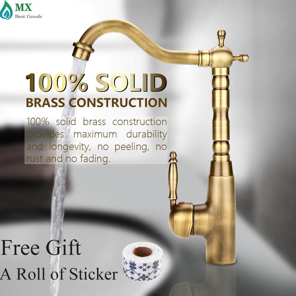 [free gift] Antique Retro Style Solid Brass Kitchen Bathroom Basin Sink Faucet Hot & Cold Pipes Mixer Tap