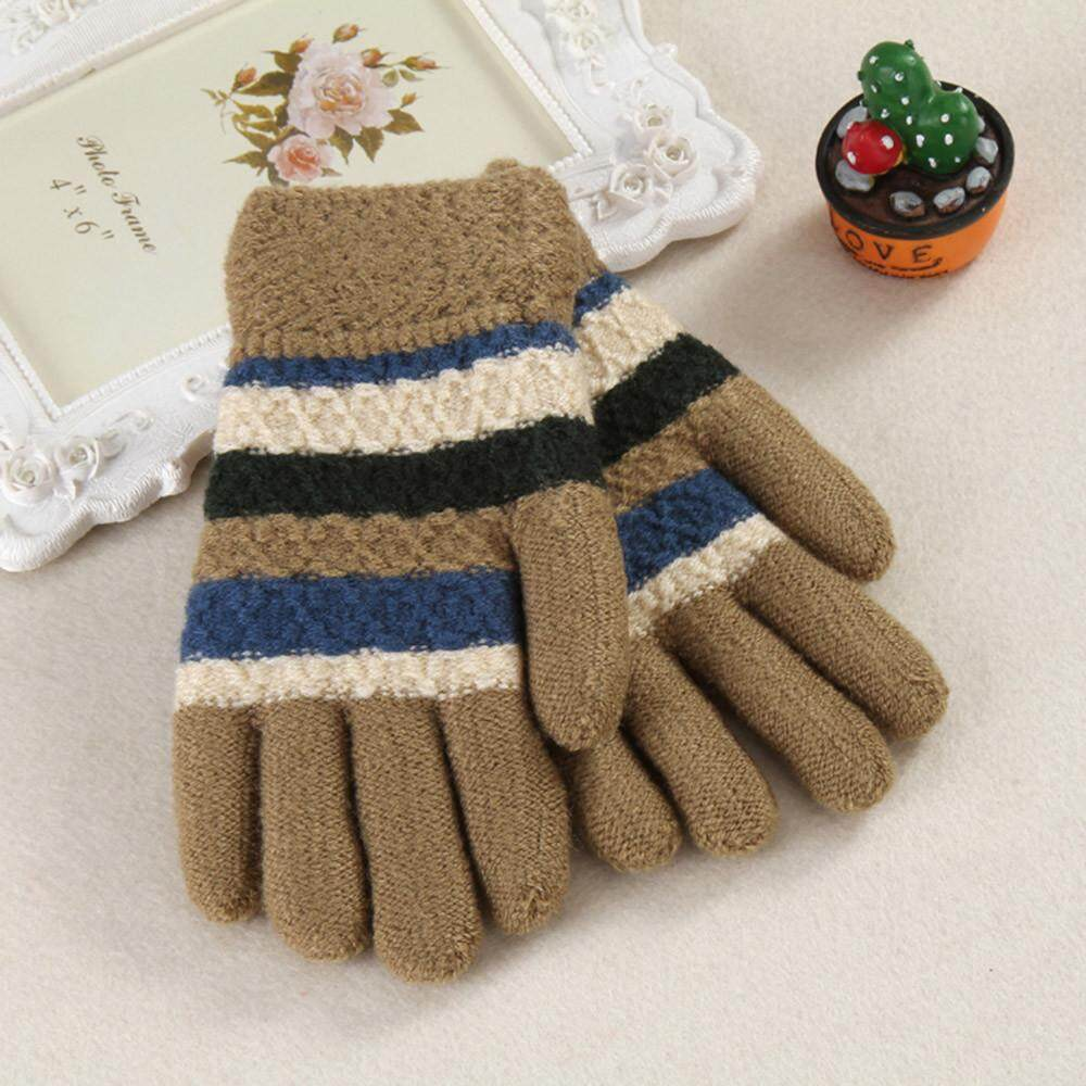 【free Shipping】toddler Baby Thicken Girls Boys Striped Finger Warm Knitted Mittens Gloves By Beautikop.