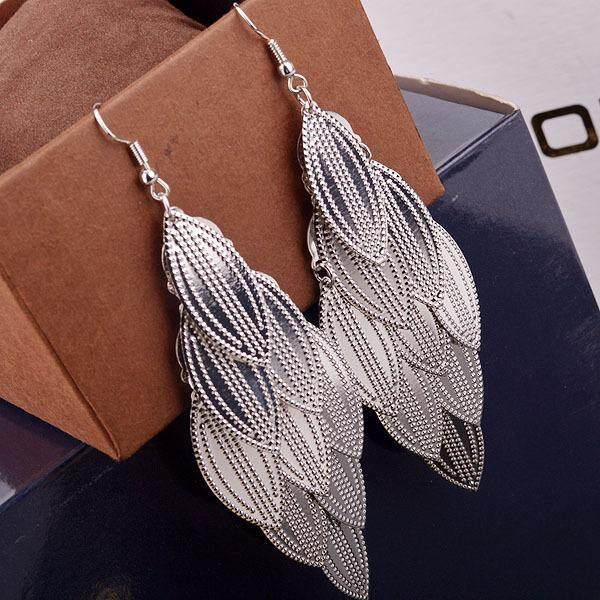 Big Sale Women Multi-Layer Veined Leaves Pendant Earrings Fashionable Lady Eardrop Decoration By Four Season Big Sale.