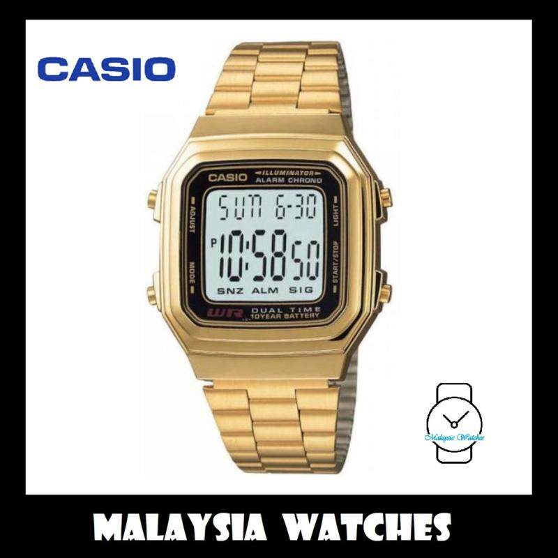 Casio Unisex A178WGA-1ADF Digital Vintage Gold Stainless Steel Watch (Free Shipping) Malaysia