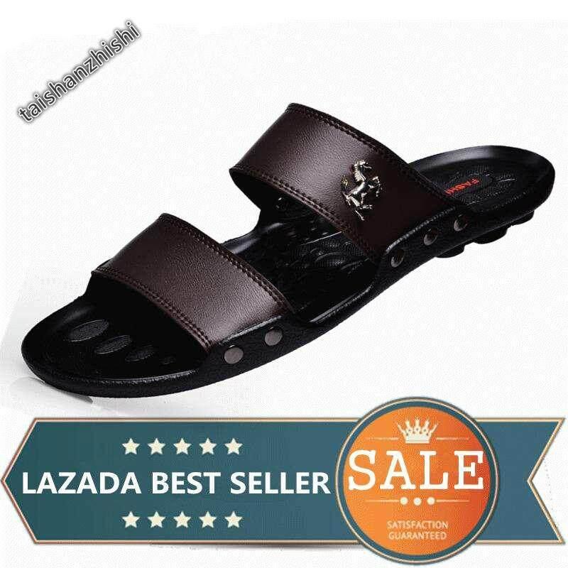 a39fc3543e75 Men Slippers Summer Fashion Beach Flip Flops Sandals (Brown)