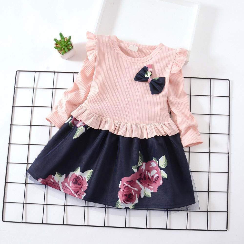 d7f881c0131d Toddler Baby Girls Long Sleeve Floral Flower Print Dress Outfits Clothes